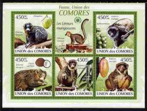 Comoro Islands MNH S/S Mongoose Lemur 2009 5 Stamps