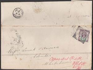 GB 1888 folded entire 1½d R & Co Perfin - WHITEHAVEN SORTING TENDER........29061