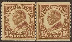 598 MNH,  1 1/2c. Harding Coil Line Pair, scv: $9