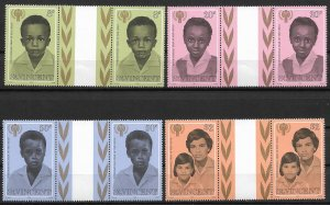 1979 St Vincent Sc541-4 International Year of the Child MNH C/S of 4 gutter pair