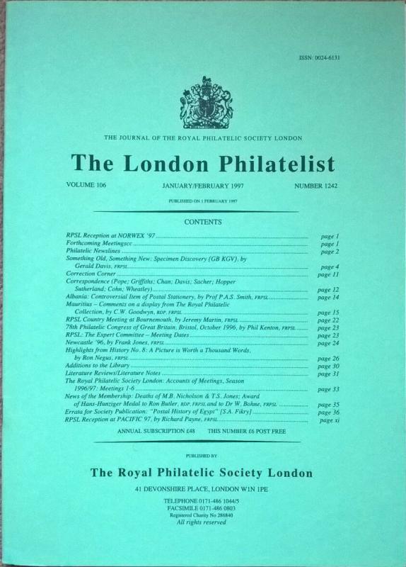 GB KGV SPECIMEN DISCOVERY Great Britain King George V philatelic-literature