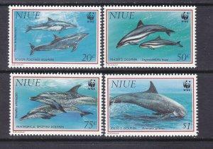 Niue 651-54 MNH 1993 Various Type of Dolphins WWF World Wildlife Full Set of 4