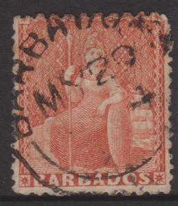 Barbados 1871 6d Vermillion Britannia Sc#34 Sg#49 Used