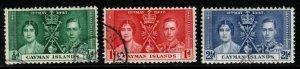 CAYMAN ISLANDS SG112/4 1937 CORONATION FINE USED