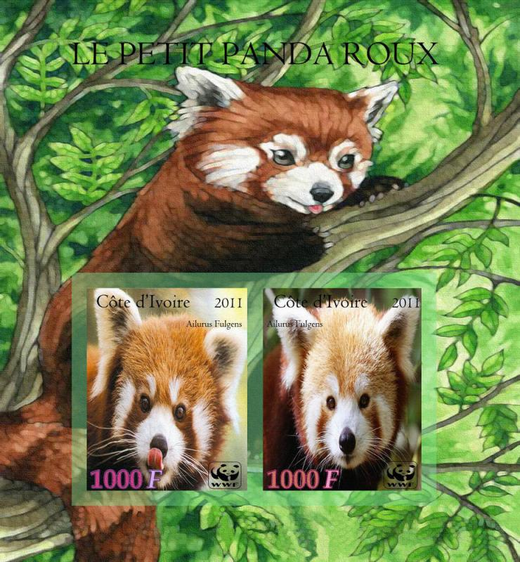 IVORY COAST COTE D'IVOIRE SHEET IMPERF RED PANDA BEAR BEARS