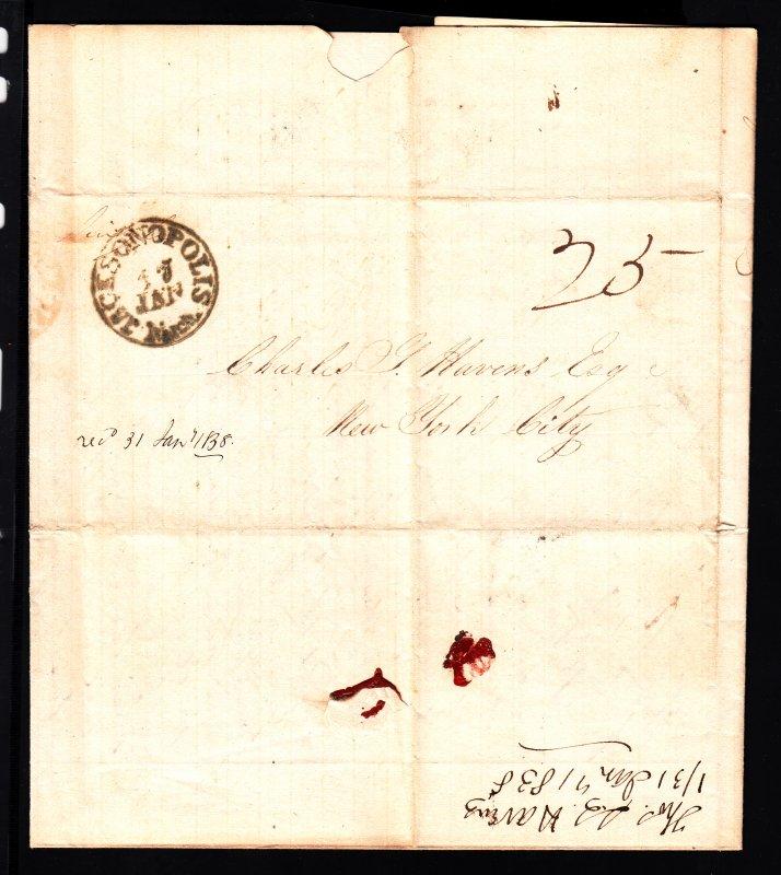 Rare 1838 Jacksonopolis MI SFL from the Havens correspondence