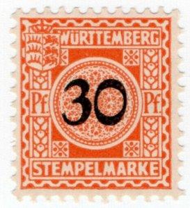 (I.B) Germany Revenue : Wurttemburg Local Tax 30pf (Stempelmarke)