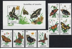 Lesotho 1990 butterflies insects set+s/s MNH cat 39 euro