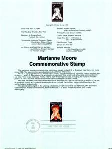 US SP877 Marianne Moore 2449 Souvenir Page FDC