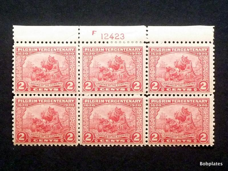 BOBPLATES #549 Pilgrim F12423 Top Plate Block of 6 VF HR SCV=$85+