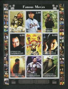 Tajikistan Commemorative Souvenir Stamp Sheet - Hollywood Famous Movies