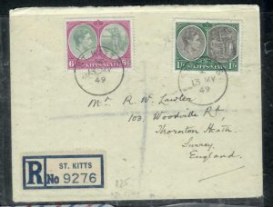 ST KITTS NEVIS COVER (P0807B) 1949  KGVI 6D +1/- COLUBUS REG TO ENGLAND