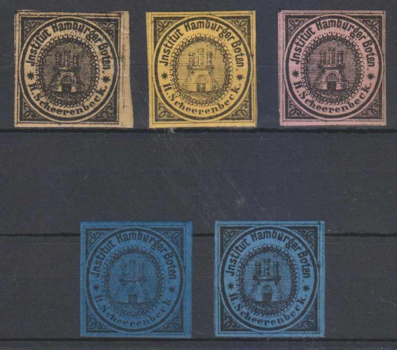 GERMANY PRIVATE POST HAMBURG 1862 Michel 2 FIVE SINGLES DIFFERENT COLORS €100.00