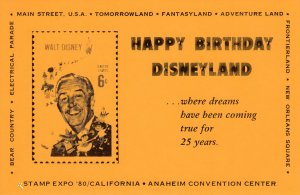 USA Stamp Expo'80/California Happy Birthday Disneyland Card