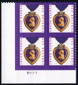 NEW ISSUE (55¢) Purple Heart Plate Block: LL #B111111 (2019) SA