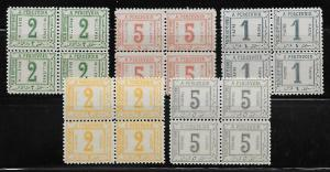 Egypt J10-14 Postage Dues set Blocks of 4 MNH
