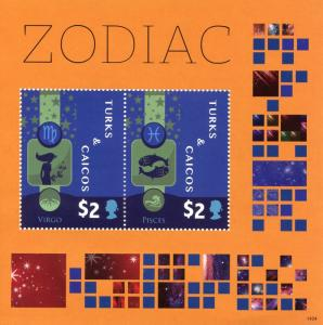 Turks & Caicos 2014 MNH Zodiac 2v S/S II Space Constellations Virgo Stamps