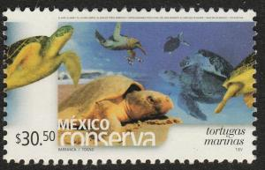 MEXICO 2435, $30.50PESOS. CONSERVATION, TURTLES.  MINT, NH. F-VF.