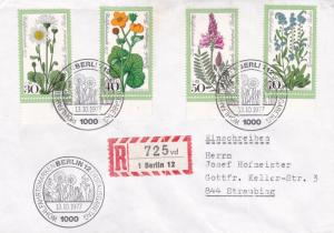 West Berlin1977 Meadow Flowers Set FDC Registered Mail VGC