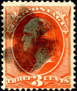 US #214 1887 3c Washington. Used Fine. Dark Cancel.