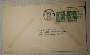 Canada Vancouver 1961 Machine Cancel Postal Zone Requires G Official Sc# 034