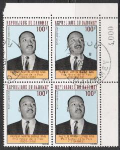 Dahomey #C73 Martin Luther King Corner Block CTO NH