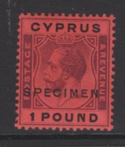 CYPRUS SG102s 1924 £1 PURPLE & BLACK/RED SPECIMEN MTD MINT