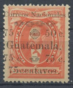 Guatemala 1886 MH Surcharged Stamp | Scott 28d | Variety 50 for 75