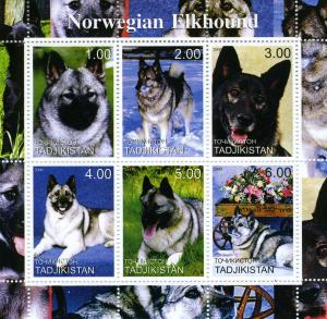 TURKMENISTAN 2000 Dogs Norwegian Elkhound Sheet Perforated mnh.vf