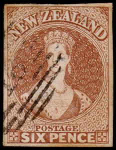 New Zealand Scott 9 (1859) Used VF, CV $325.00 M
