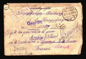 Germany 1916 POW Cover to France / Censor / Edge Tears - Z14454