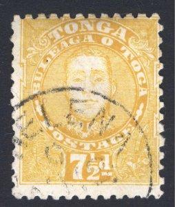 Tonga 1895 7 1/2d Orange Yellow George II SG 35  Scott 32 VFU Cat £50($75)