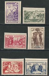 Ivory Coast104-09 Yv 133-38 Paris Intl Exhib MLH VF 1937 SCV $11.20