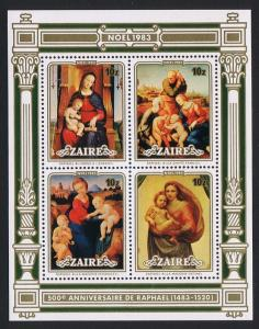Zaire 500th Birth Anniversary of Raphael MS SG#MS1171 SC#119-130 CV£10+