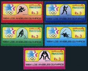 Pakistan 626-630,MNH.Michel 628-632. Olympics Los Angeles-1984.Athletics,Boxing,