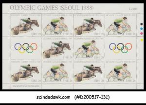 IRELAND - 1988 OLYMPIC GAMES / Equestrian / CYCLING - SHEETLET MNH