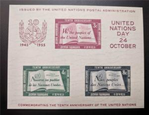 United Nations Stamps 1955 Souvenir Sheet #38 Mint NH Imperfortate