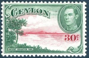 CEYLON-1945 30c Carmine & Green Watermark Upright Sg 386 LIGHTLY MOUNTED MINT