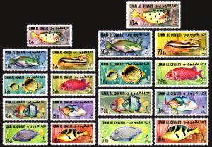 Umm Al Qiwain Mi #171-188 set/18 mnh - 1967 Fish of the Persian Gulf
