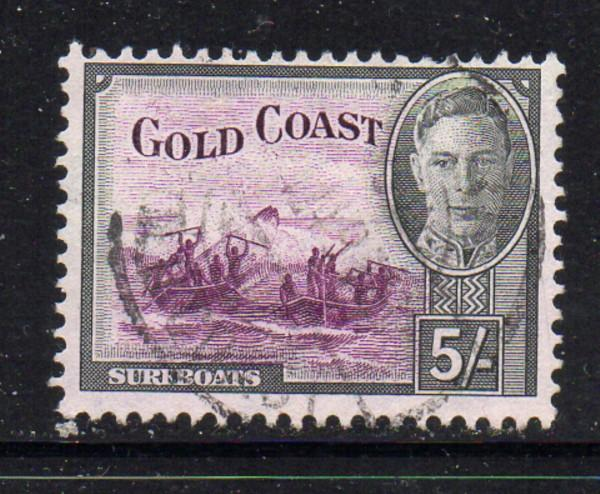 Gold Coast Sc 140 1948 5/ G VI & Surfboats stamp used