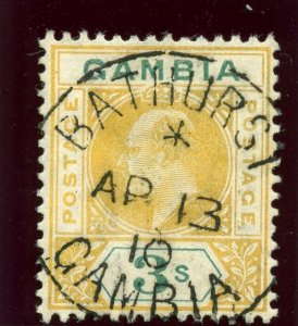 Gambia 1909 KEVII 3s yellow & green very fine used. SG 85. Sc 64.