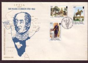 Isle of Man Sc 291-3 1985 Sir Mark Cubbon stamp set FDC