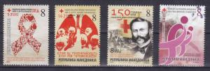 Macedonia 2013 Complete Year Red Cross Tuberculosis Cancer AIDS Medicine MNH