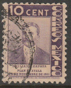 MEXICO 723, 10¢ ANNIV. PLAN DE AYALA - ZAPATA. USED. VF. (572)