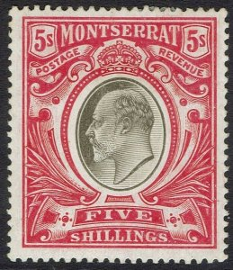 MONTSERRAT 1904 KEVII 5/- WMK MULTI CROWN CA