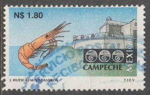 MEXICO 1787, N$1.80 Tourism Campeche, shrimp, fortress. USED F-VF. (1375)