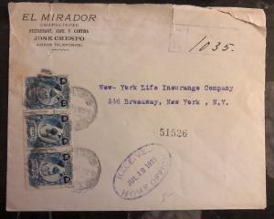 1921 Mexico City Mexico Commercial cover To New York USA Sunburst Label