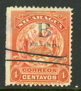 Nicaragua 1905 ABNC 4¢ Orange Red Pen Cancel Y85 ⭐☀⭐☀⭐
