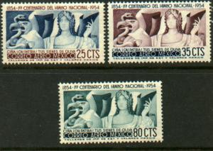 MEXICO C224-C226, CENTENARY OF THE NATIONAL ANTHEM, SET OF 3. MINT, NH. VF.