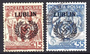 POLAND WW2 LUBLIN OVERPRINTS CDS F/VF TO VF SOUND x2 #4